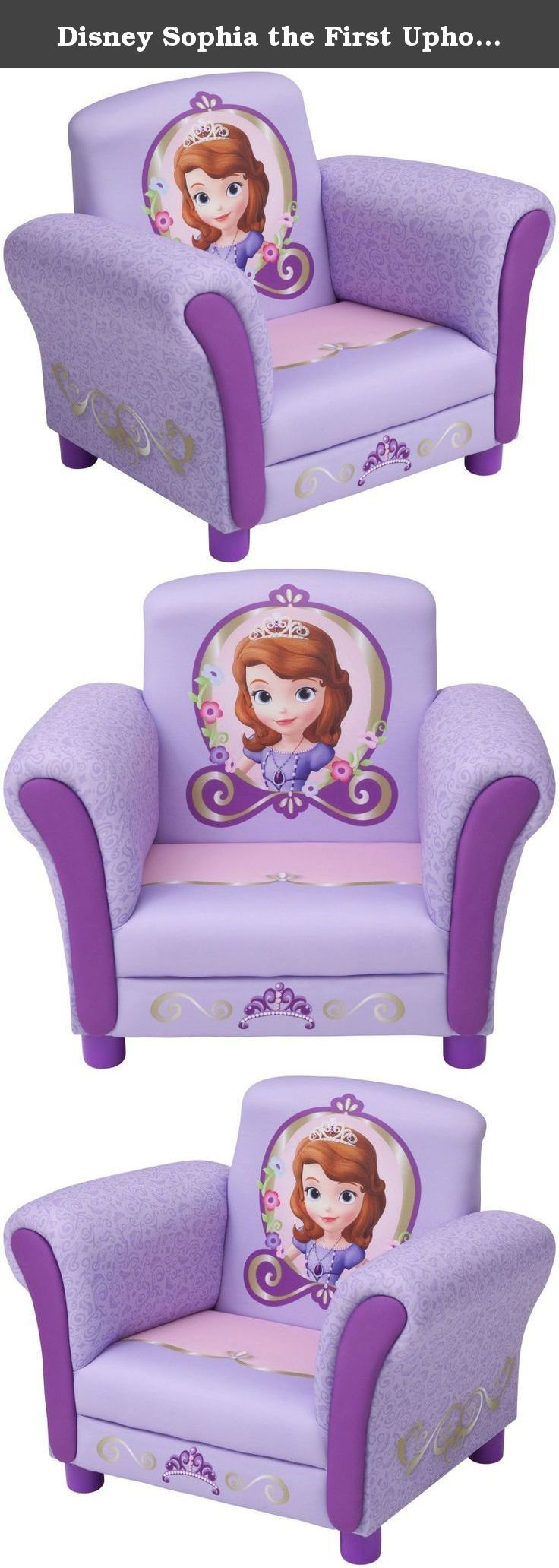 Disney Sophia the First Upholstered Toddler Chair. Disney Sophia the First Upholstered Toddler Chair This delightfully designed Disney Sofia the First Upholstered Chair is the ideal toddler chair for your little girl. Features your child's favorite characters, this upholstered chair provides the most comfortable spot for your little one to watch her movies and shows while relaxing after a long day of school. The upholstered chair is also built with a sturdy frame for durability making it…