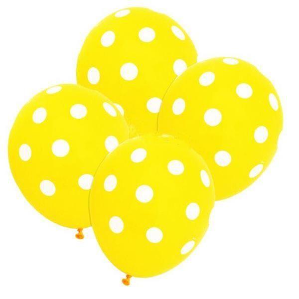 Sarı Beyaz Puanlı Baskılı 25 Adet Latex Balon