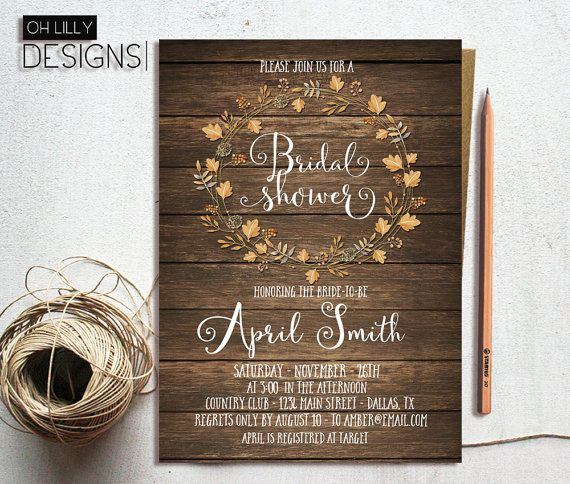 Rustic Bridal Shower Invitation Fall Bridal by ohlillydesigns