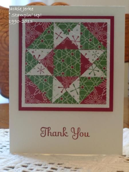 pinterest christmas thank you cards | Christmas Quilt Thank You Cards