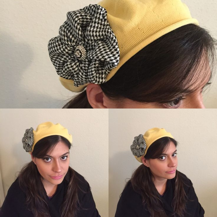 Yellow Pastel Beret/hat with flower. www.elishevashoham.com