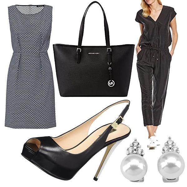 Outfit con la possibilità di scegliere tra l'abito scamiciato oppure la jumpsuit nera con coulisse in vita. Completano il look la shopping bag nera di Michael Kors, le scarpe nere Guess e gli orecchini a perla.