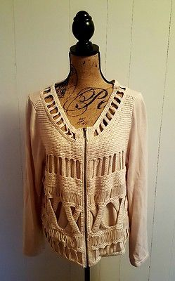 Womens CHICOS XL Cream Crochet Knit Zip Up Sweater Cardigan Size 3 Long Sleeves