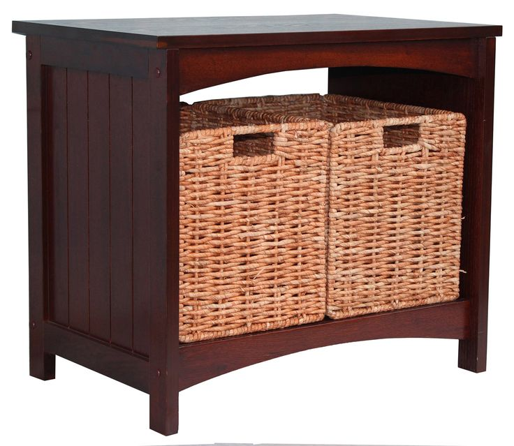 """Jenlea Wood Storage Bench & Reviews   Wayfair Jenlea Wood Storage Bench  FEATURES: Made of MDF Two removable corn leaf baskets Arched top and bottom Tongue and groove detailing on side panels Sturdy construction Finish: Walnut DIMENSIONS: Overall: 19.63"""" H x 22.63"""" W x 14.63"""" D Overall Product Weight: 32.14lbs"""