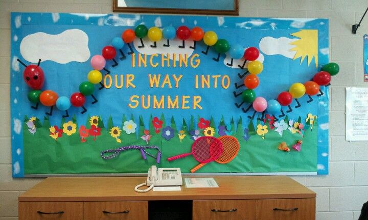 Fun school bulletin board! Inching our way into summer #Caterpillar board #Creative #DIY balloons