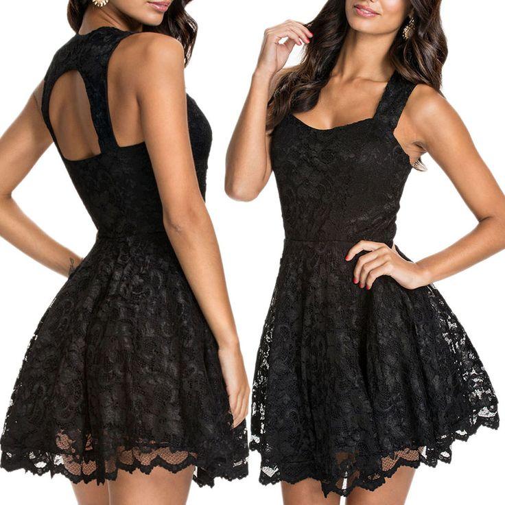 Abito pizzo nero svasato vestito donna skater vestitino festa miniabito elegante