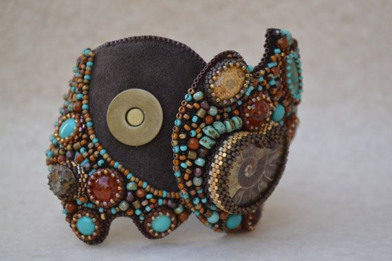 Bead Embroidered Bracelet Cuff Beaded Bracelet Cuff