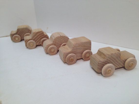 Wooden Toy Cars  (Set of 5) Handmade Unfinished Wood Toy Child Safe Beeswax Finish Christmas, Black Friday, Cyber Monday Sale Priced Today