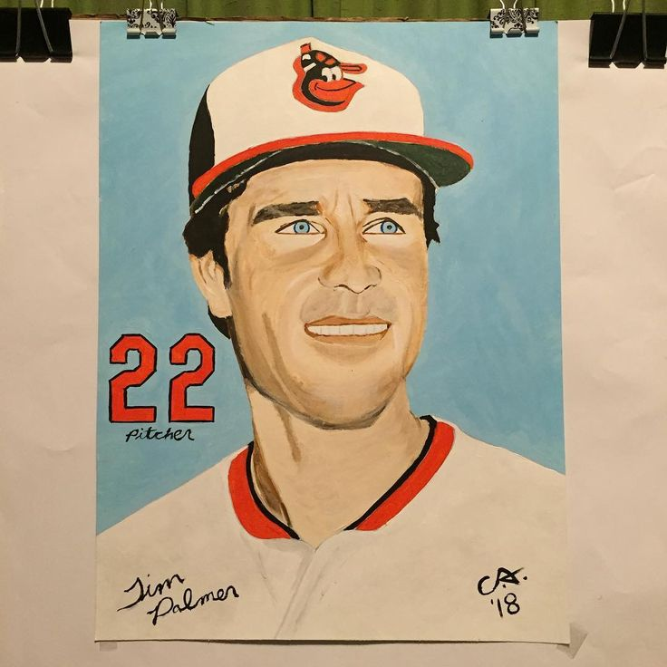 Finished painting of Orioles hall of Famer Jim Palmer. Jim played for the Orioles from 1965-1984. #art #artist #artwork #artsy #artoftheday #acrylic #paint #painting #portrait #nofilter #goodartguide #baltimore #orioles #22 #pitcher #jimpalmer #halloffame
