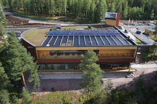 Haltia Center with #greenroof and #solar panels/Energetska efikasnost: Haltia centar u Finskoj sa solarnim panelima [img via ©haltia.com] #renewableenergy