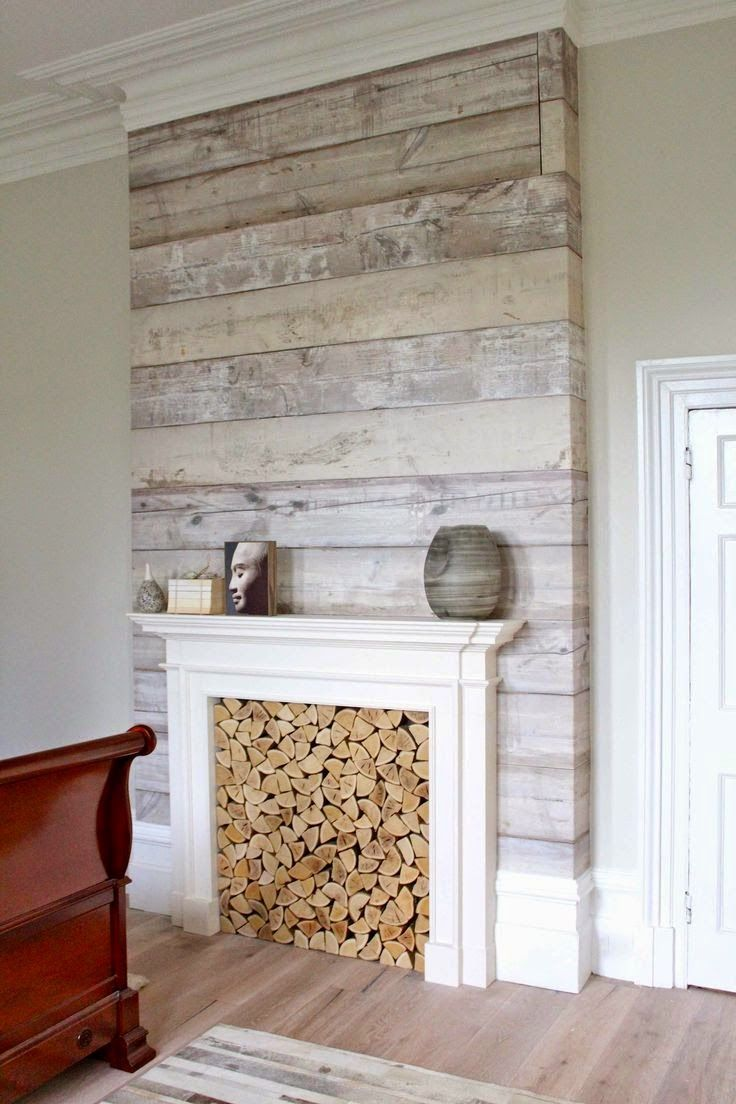 Best 25 fake fireplace logs ideas on pinterest logs in - Faux wood plank wallpaper ...