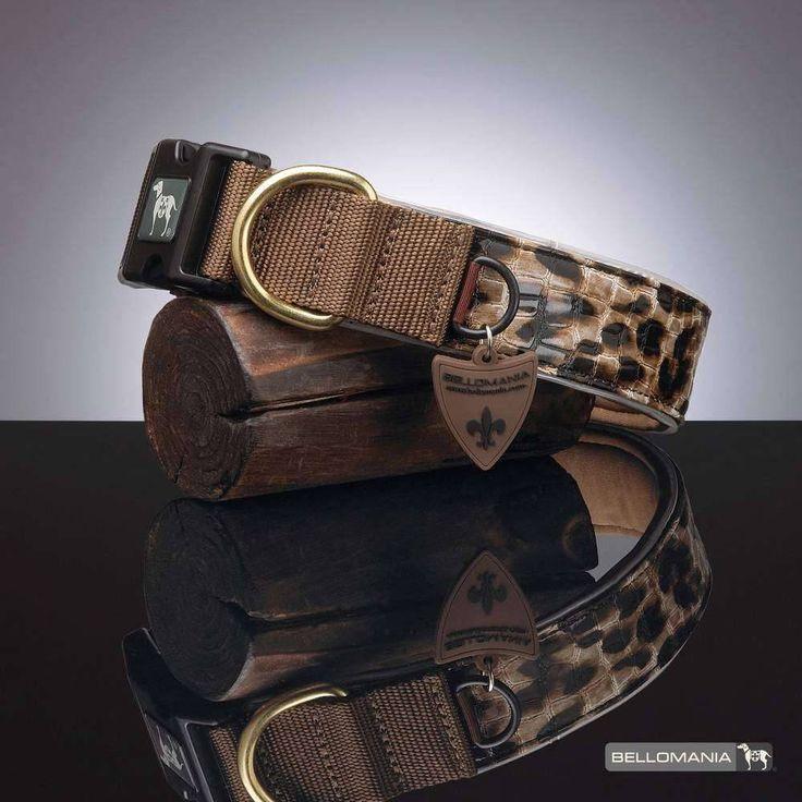 Dit stijlvolle neopreen halsband past zich prima aan de nek van de hond aan, is voorzien van een stevige D-ring en de metalen elementen zijn van echt goud!