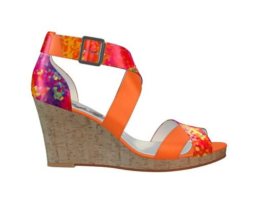 Orange cork wedge sandal. I was experimenting with the new flower fabric prints, and this came out pretty well! Definitely makes me think Miami.