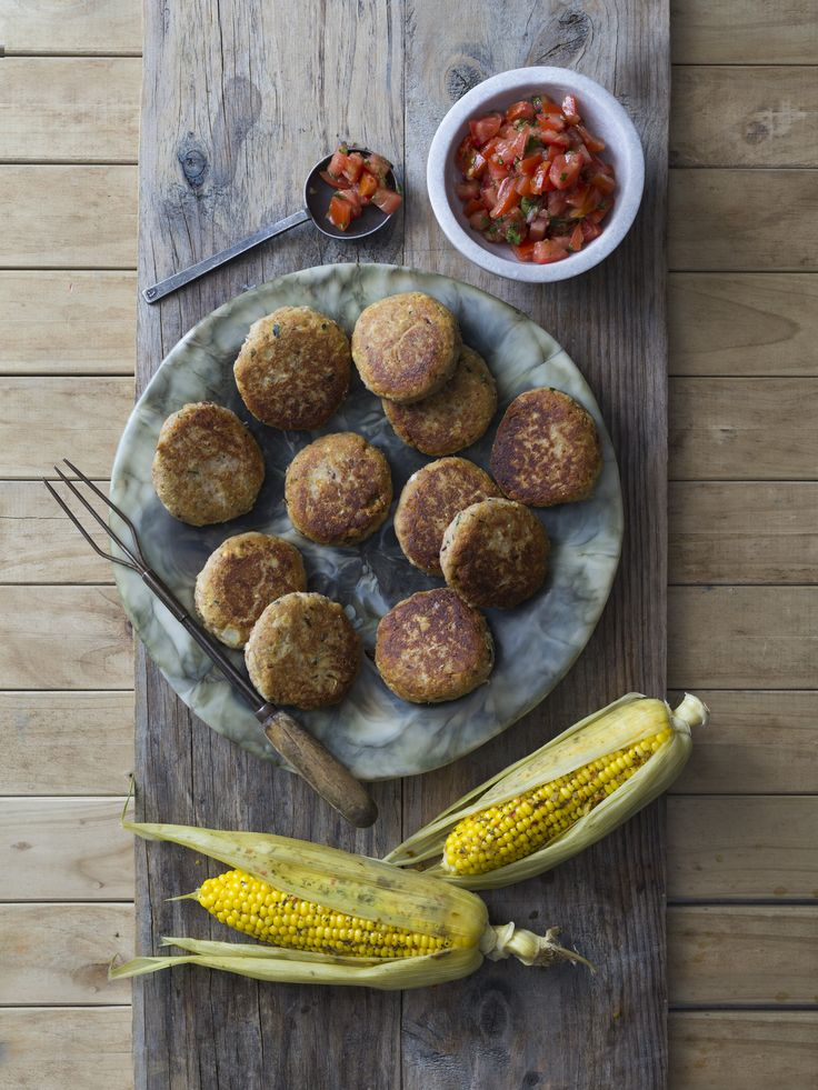 Ricotta patties with chilli lime corn | Thermomix | Vegetarian Kitchen cookbook and recipe chip | p. 106 |
