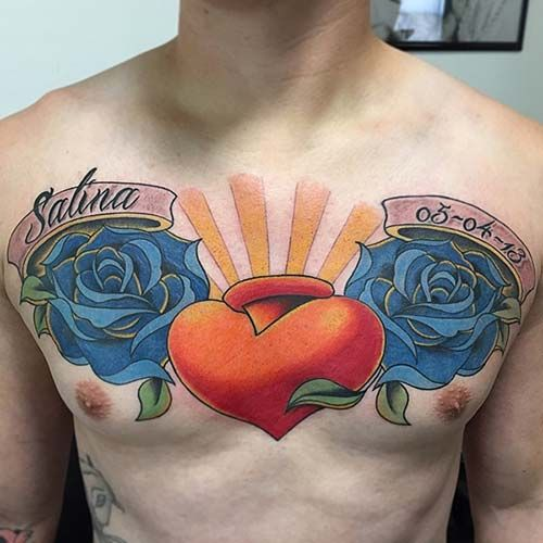 man chet name tattoo wit heart erkek göğüs isim dövmesi