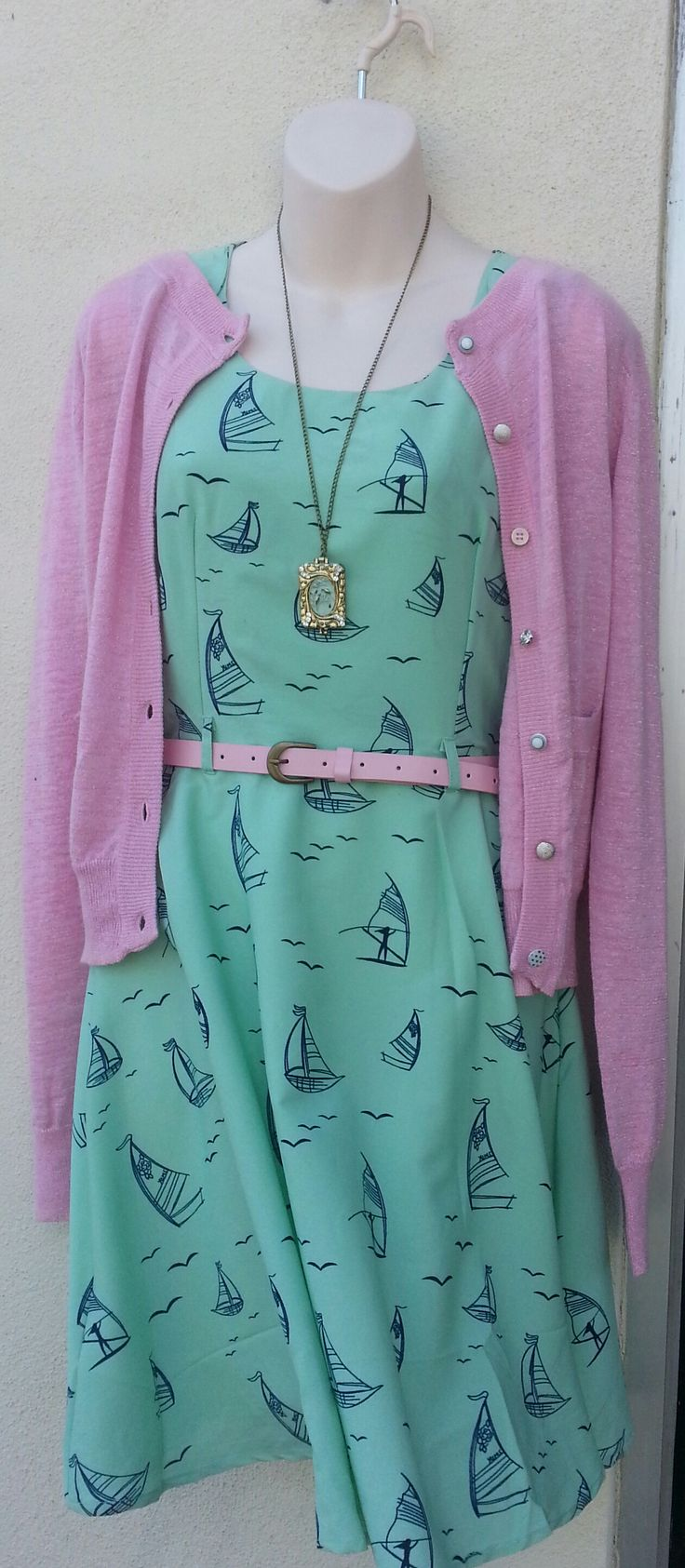 A little pink lurex cardy over boats
