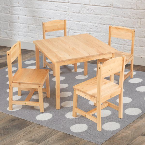 Give Your Kids The Right Table Training With The Kidkraft Kid S Farmhouse Kids 5 Piece Writing Wooden Table And Chairs Kids Wooden Table Kids Table And Chairs