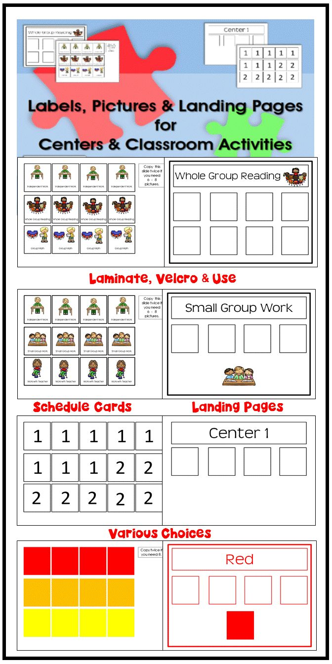 schedule cards, centers/stations labels, landing spaces for schedule cards so that kids can place their card somewhere once they get there-- various choices to set up a classroom #autism #schedule #autismclassroom #visualsupports