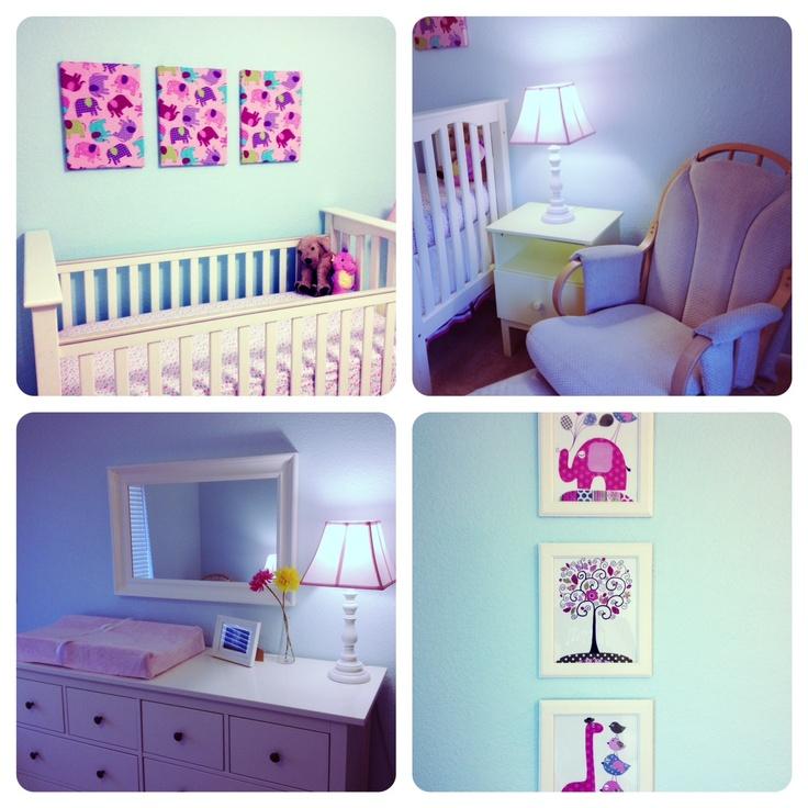 Pottery barn Kendall crib, Ikea Hemnes dresser& mirror, DIY material covered canvas boards