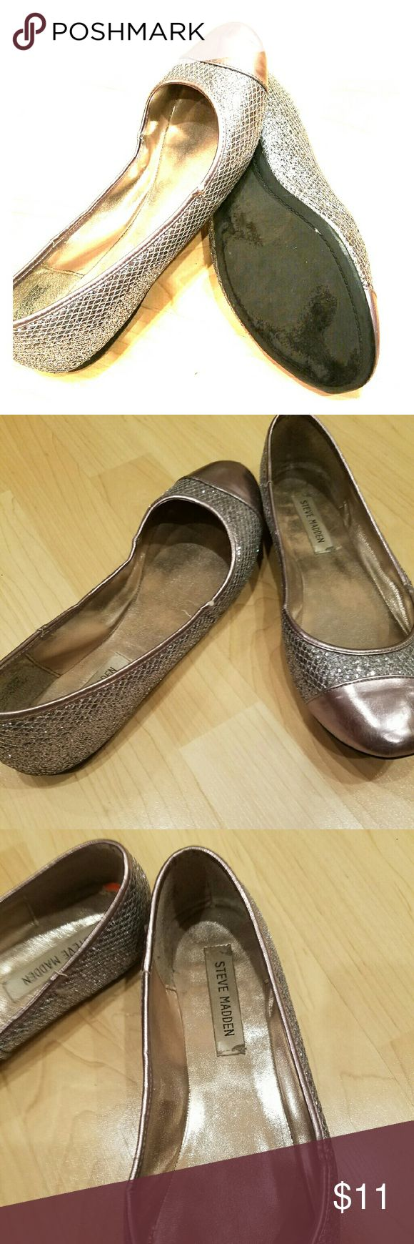 Steve Madden sparkling shoes Silver sequence with a light bronze/pink solid color on the toe and top rim of shoe. Has a few bad spots along the rim (see pic) and a small scuff in the heel of the left shoe Steve Madden Shoes Flats & Loafers