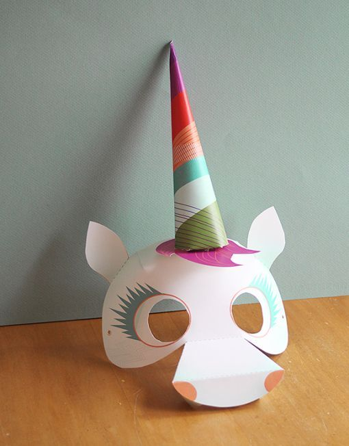 Smallful Printables - Unicorn Mask DIY Craft - A Perfect start for your Halloween costume or party favors!