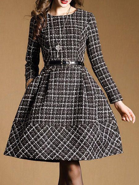 Pockets Plaid Mini Dress goes to a 18/20