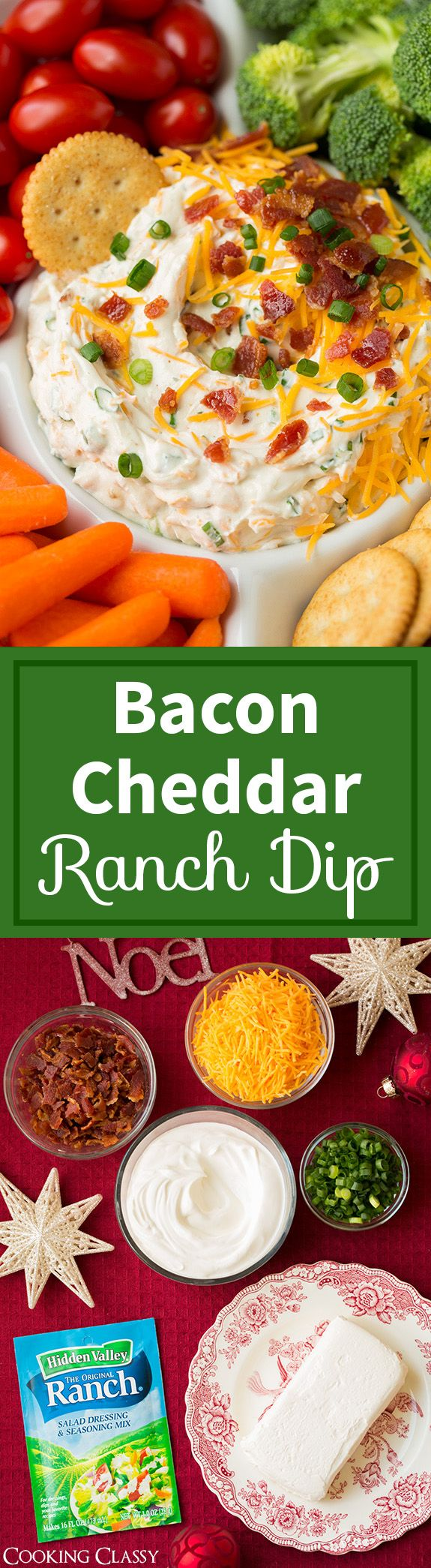 Bacon Cheddar Ranch Dip - 6 ingredients and a breeze to make! This stuff is dangerous!! I kept reaching into my fridge for more, too good to resist. Served it at a party and it was a total hit!