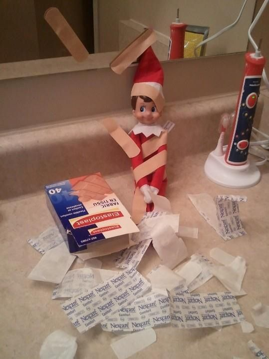 Elf covers himself with band-aids. #elfontheshelf