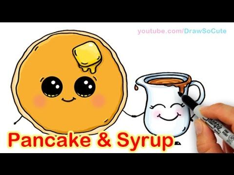 How to Draw Cartoon Pancake and Syrup Breakfast Cute and Easy