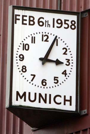 On the 6th February 1958 the plane carrying players and backroom staff of Manchester United, plus a number of journalists and supporters, crashed on its third attempt to take off from Munich airport. United were returning from Belgrade where they had just beaten Red Star Belgrade in the European Cup and had stopped off at Munich for re-fuelling. There were forty four passengers and twenty three of them lost their lives.