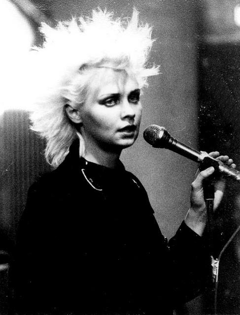 Xmal Deutschland - Anja Huwe, lead vocals +†+ #portrait #Anja #Huwe #lead #vocals #XMal #Deutschland #spiky #bleach #blonde #platinum #hair #goth #gothic #sensibility #1981