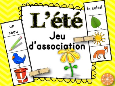 L'été - jeu d'association - images from French Buzz on TeachersNotebook.com -  (11 pages)  - L'été, French Summer, game, picture matching, images, vocabulaire, centre de littératie, atelier