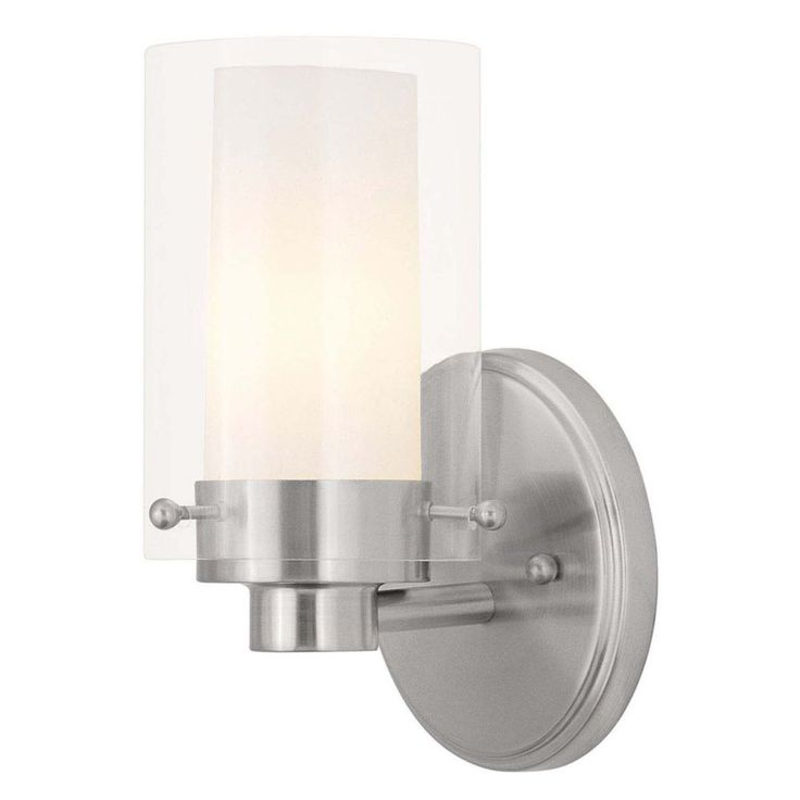 Providence 1 Light Brushed Nickel Incandescent Bath Vanity with Clear Outside and Opal Inside Glass