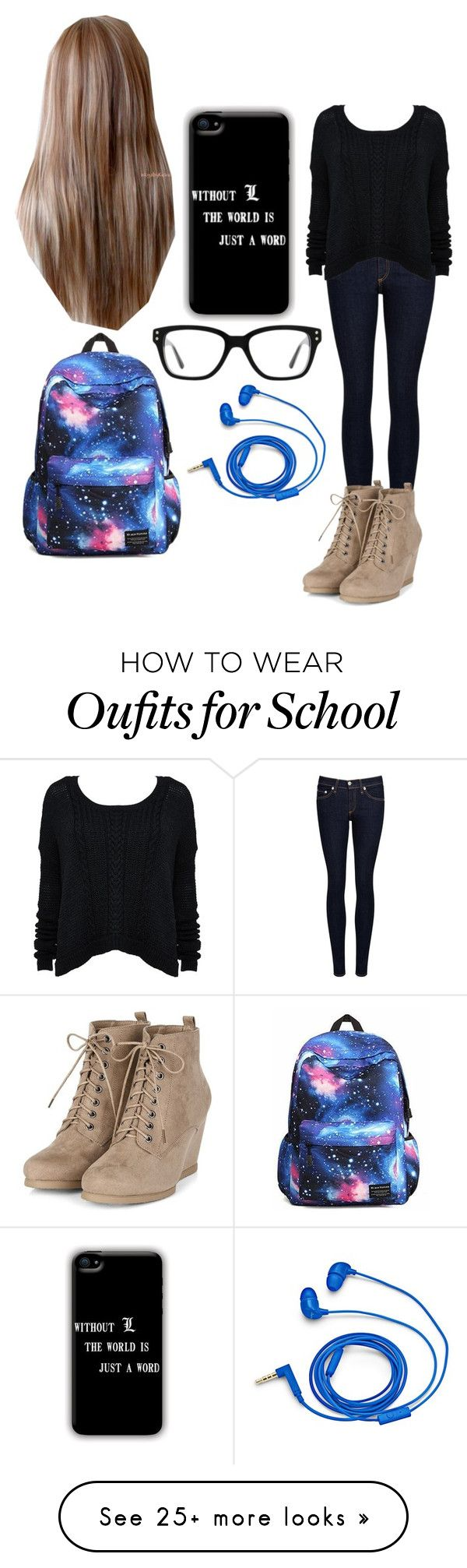 """""""School"""" by magcon1d on Polyvore featuring rag & bone/JEAN, Alice + Olivia, Converse and FOSSIL"""