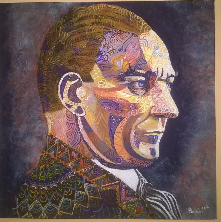 ATATÜRK portre zentangle akrilik 70x70 tuval, canvas