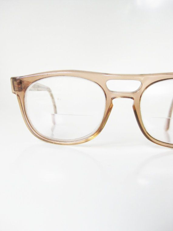 1980s Aviator Eyeglasses Mens Titmus Light Blonde Brown Glasses Frames Optical Eyewear Light Sand Beige Clear USA American Indie Hipster
