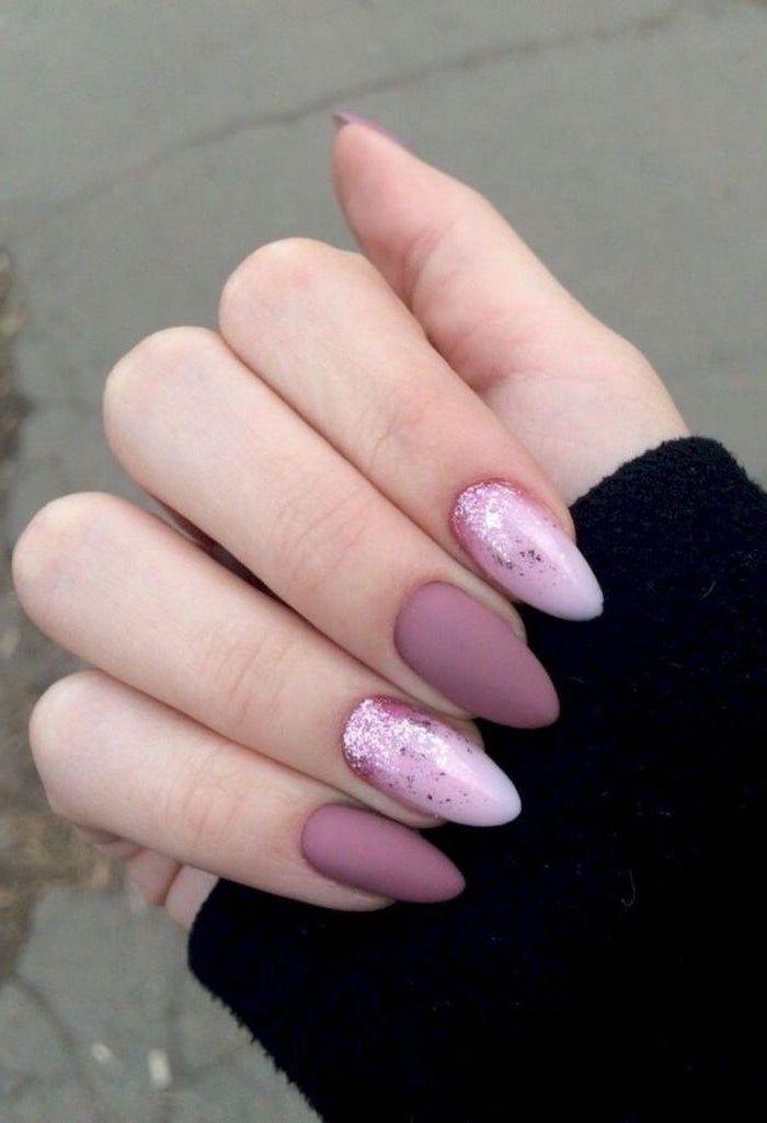 purple matte nail polish, pink glitter nail polish, nude matte nails. short almo…