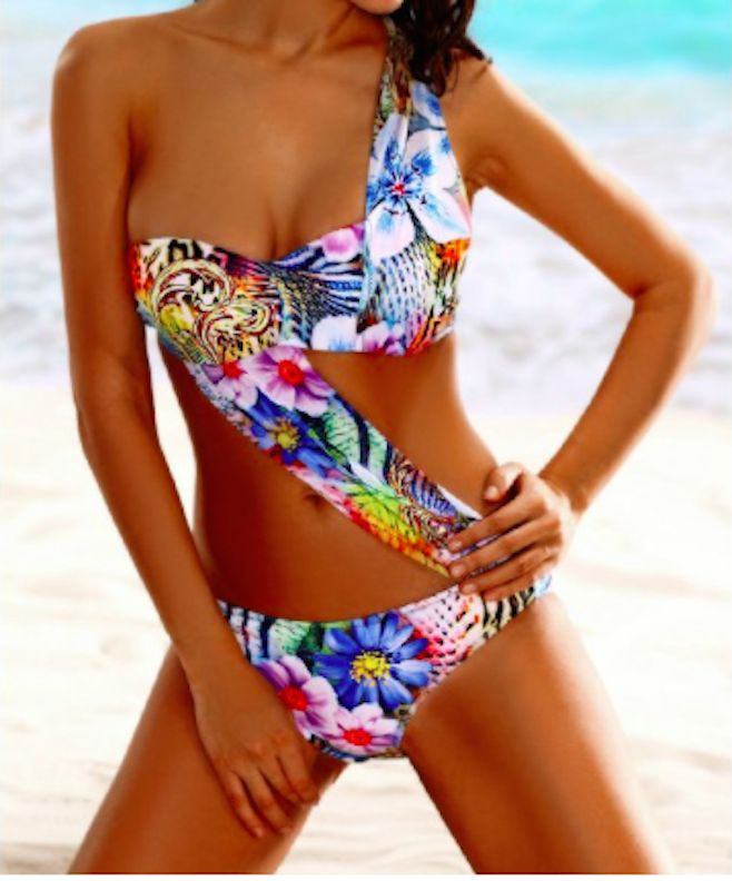 sexy one shoulder tropical floral one piece