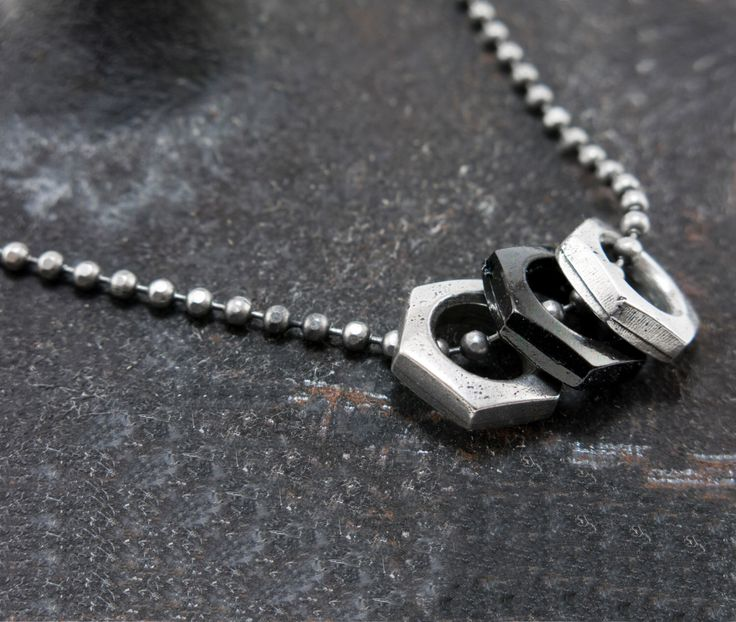 Mens chain necklace, Vegan necklace, Chain and Hex Nut necklace for men, Industrial Chic necklace, Hex Nut necklace, Hardware Jewelry by MensJewelryByMagoo on Etsy https://www.etsy.com/il-en/listing/385644548/mens-chain-necklace-vegan-necklace-chain
