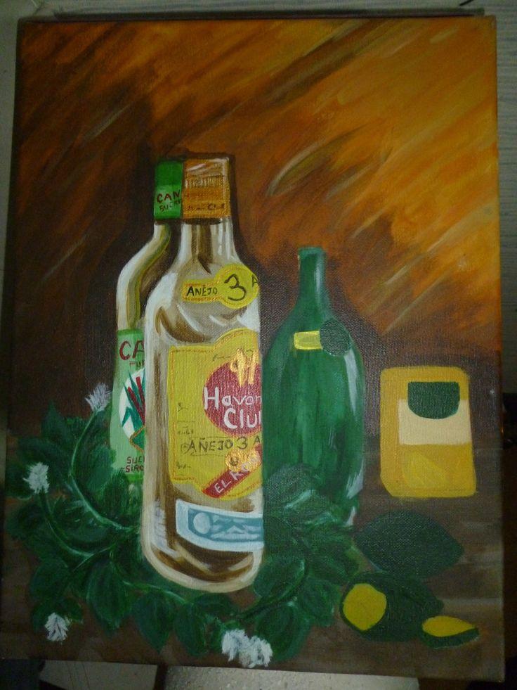 """Voici mon 1er vrai tableau ! Fait en 2004 pour graver une soirée passée avec mes 2 meilleurs potes ! Je crois que ces trois bouteille nous represente un peu....l'un est doux et sucré...l'autre plutot petillant...et le dernier plutot """"funky"""" ! En tout cas tous le trouve """"génial"""". C'est ma 1ere """"création""""....j'ai adoré avoir le modele facon nature morte sur ma table de salon....et entre coup de pinceau....on fait baisser l'niveau !"""