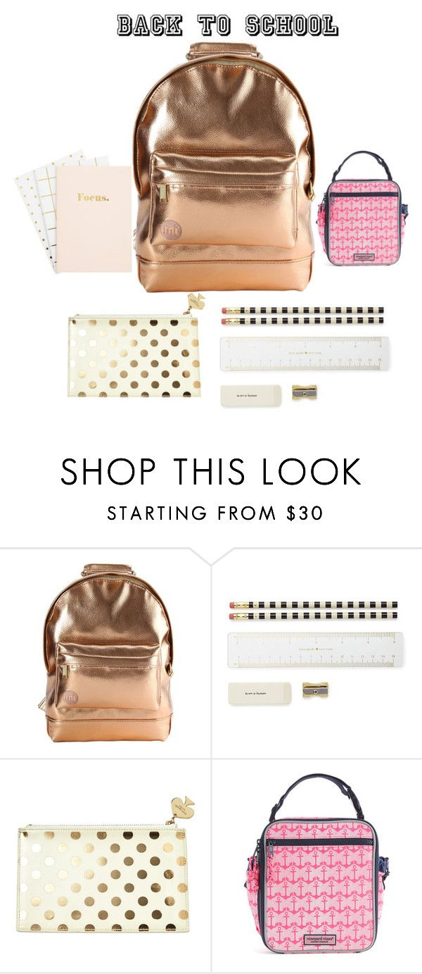 """""""Good luck in school."""" by jaimebneuman ❤ liked on Polyvore featuring Mi-Pac, Kate Spade, BackToSchool, backpack and inmybackpack"""