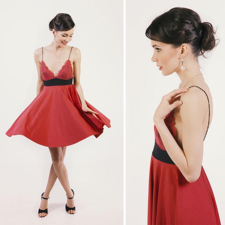 Red dress with Swarovski bead straps  #reddress #lace #beads #swarovski #elegant #style #audrey #collection #illango