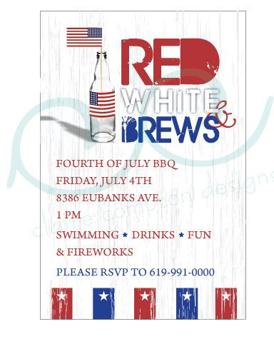 Red White  Brews 4th of July Party Invitations by CCdesignSpace, $12.00  #4thofJuly #Patriotic
