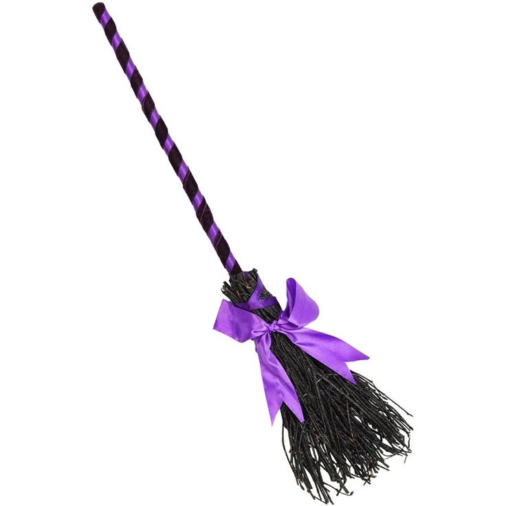 Glittered Purple Witch Broom: 25-inch $11