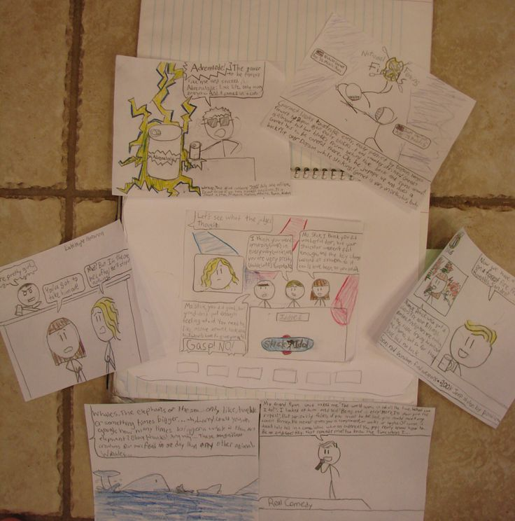 """Here are all seven panels that Ethan designed for his interactive """"TV page"""" in his writer's notebook.  Ultimately, he provided a world news channel, a nature channel, a commercial, a late-night comedy special, a commercial, a sports channel, a horror movie, and a scene from the """"Stick Idol"""" talent competition. Want to see the images and be able to zoom in? Use this link: http://www.pinterest.com/pin/450852612669432992/"""