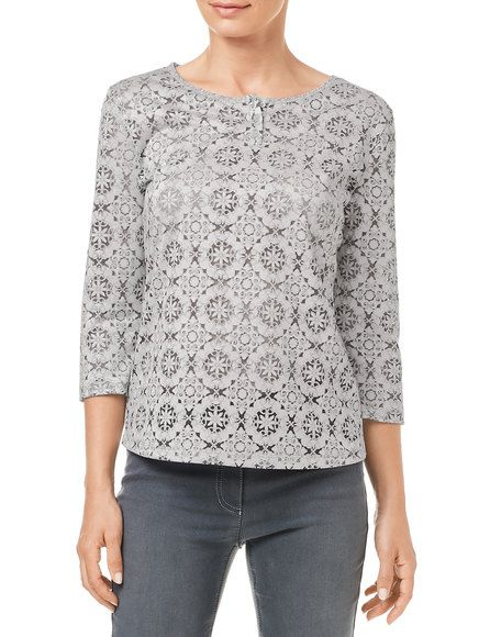 Top with a fashionable pattern and 3/4-length sleeves, pebble buy now | GERRY WEBER