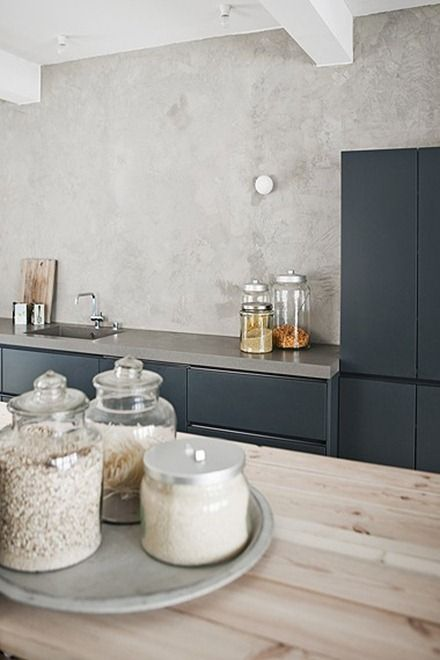 Grey | Concrete | Wood Especially love the countertop colour
