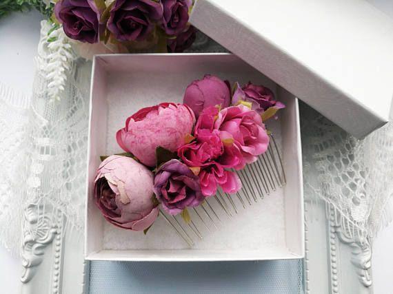 Pink and purple flower hair comb purple hair piece wedding