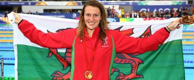 Jazz Carlin- A Swansea Alumnus with her gold medal in 800m freestyle swimming! She trains at the Olympic-quality swimming pool in the University's student village!