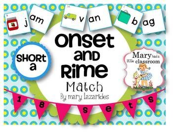 Short Vowel a: Onset and Rime Matching Activity